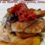 Filet de merlu, courgettes jaunes, tomate