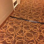 Lots of dated carpet held down with electrical tape in the hallways