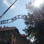 The entrance to Auschwitz one