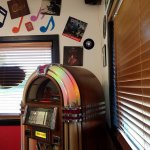 Lots of old albums and a Jukebox