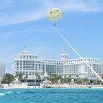 Parasailing with our Hotel Riu Palace Las Americas in background