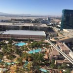 View of the lazy river pool from the 20th floor - bedroom also had views of the Strip.