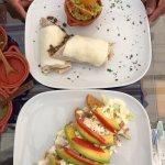 Beef burrito & Fried quesadillas