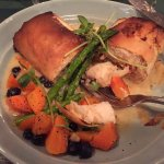 Salmon in Phyllo w Asparagus, Carrots, Sprouts, a tad of sauce.