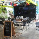 Outside sports viewing area