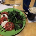 Tomato and Mozzarella salad and cup of clam chowda