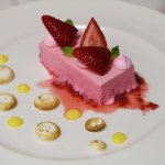 Who doesn't like dessert? A view of our Pink Ribbon Semifredo with fresh strawberries.