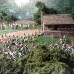 One of the dioramas depicting scenes from battles