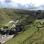 View of Tintagel, beach and waterfall