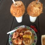 Garlic Shrimp and Ice Cold Coconut