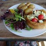 Vegetarian choice feta cheese and sunbush tomato tart