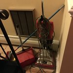 Cleaning equipment at bottom of stairs