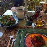 Fresh salad and tomato tart