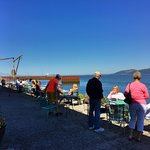 Enjoy your food and beverage on the deck on the Columbia River