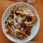 Awesome fries with bacon, parmesan, aeoli