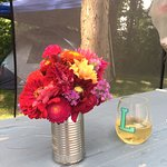 Even bought flowers to beautify our campsite.
