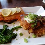 Salmon on Cedar slab, and the potato pancakes TDF