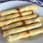 Cheese and spinach wrapped in filo