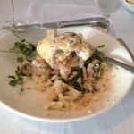 Lobster stuffed haddock on garlic mashed potatoes & veggies