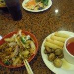 my stir fry, spring rolls & mushrooms