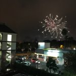View from balcony of Disneyland fireworks