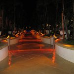 walkway to pool at night