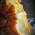 Malasada (Portuguese doughnut) with coconut cream filling - Delicious!