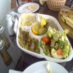 dips, salad and dolmades
