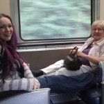 My mother and I on the train