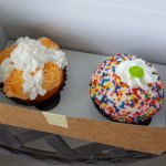 Orange Dreamsicle cupcake and Birthday Cake cupcake