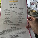 Breakfast. Yes! New York Strip Steak with mushrooms was on the menu for breakfast.