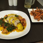 saffron chicken with gnocchi and a side of sweet potato fries. Asahi Beer on tap too.