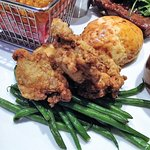 Combo platter -  fried chicken, green beans & cheese biscuit