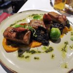 PORK BELLY carrot & parsnip puree, balsamic Brussels, champ potatoes, crackling pepper sauce