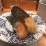 Prawn tempura, salmon and (hidden) avocado hand roll. Amazing!