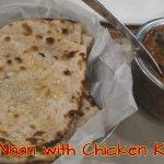 Garlic Naan with Chicken Kolapuri