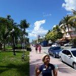 The wonderful MDPL Tour Guide Julie alongside Lummus Park on Ocean Drive.