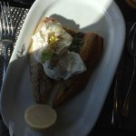 Kippers and poached eggs for breakfast - very good