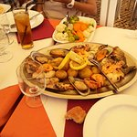 mussels, shrimp and baby calamari served with boiled potatoes etc..