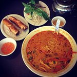 Chicken Curry Soup and spring rolls