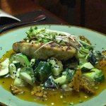 Fish special: Grilled Red Snapper on Smashed Cucumber with Sesame Brittle. Nightly Fish Specials