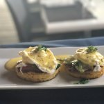 Vegetarian GF Eggs Benedict on Corn Fritter