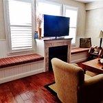 Window seats, TV in living room.