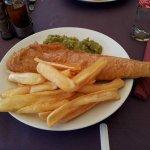 Jumbo cod and chips,mushy peas