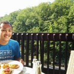 Breakfast on the porch, river and hiking paths within view.