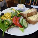 Hummus salad with bread, The Green Room