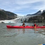In front of Mendenhall Glacier with guide (Daniel)