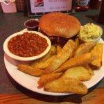Jumbo BBQ sandwich plate featuring The Big Leonard!