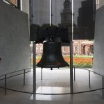 The Liberty Bell with Independence Hall behind