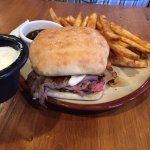 Prime rib sandwich and fries